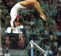 Olga Korbut ('72 Olympics) doing her famous backflip off of the high bar.