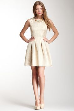 Sleeveless A-Line Jacquard Dress