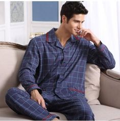 b81522f04d61 2016 Men Pajama Sets Cotton Full Sleeve Pyjamas Male Sleepwear Casual  Pijama Turn-down Collar Plaid Sleep Lounge Plus Size