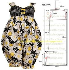 Moldes Moda por Medida: MACACÃO DE CRIANÇA ANOS i think this would be much cuter with out the legs gathered, so it would look more like a dress Adult version: more up top, less fullness on the bottom Baby Clothes Patterns, Girl Dress Patterns, Clothing Patterns, Fashion Kids, Girl Fashion, Sewing Clothes, Diy Clothes, Girls Rompers, Little Girl Dresses