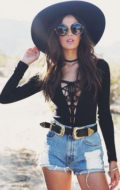 Lace up body suits and denim shorts make the cutest summer outfits!