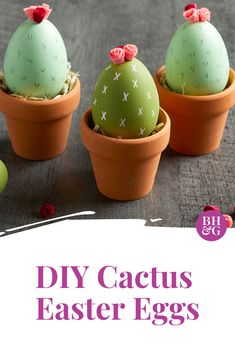 to Make These Cactus Easter Eggs Get creative with the colors and patterns, and learn how to make pretty crepe paper flower toppers.Get creative with the colors and patterns, and learn how to make pretty crepe paper flower toppers. Easter Projects, Easter Crafts For Kids, Diy Projects, Easter Stuff, Easter Decor, Cactus, Diy Ostern, Easter Activities, Hoppy Easter