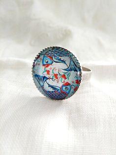 Pisces Statement Ring.  Big blue ceramic by ReyesRobledo on Etsy