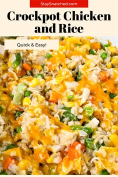 This Crockpot Chicken and Rice is the perfect, healthy one-pot meal for weeknight dinners. Simply dump your ingredients in the slow cooker and let it do the work. This dish has chicken (chicken breasts, thighs, or drumsticks), brown rice, veggies, and cheese. Rice Recipes For Dinner, Easy Rice Recipes, Delicious Dinner Recipes, Crockpot Recipes, Healthy Recipes, Healthy One Pot Meals, Quick Easy Meals, Easy Crockpot Chicken, Meal Prep Guide