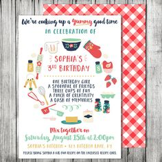 Kids Cooking Birthday Party Invitation - Cooking Baking Birthday - Baking Party Invite with Recipe Cards (Front and Back Designs)