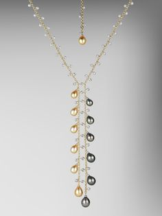 Peacock and Golden Pearl Gold Necklace with Diamonds