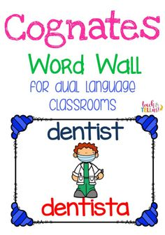 These cognates word wall cards are great to provide more vocabulary for English language learners in Dual language classrooms. Bilingual Centers, Bilingual Classroom, Bilingual Education, Spanish Classroom, Teaching Spanish, Classroom Ideas, Spanish Teacher, Learn Spanish, Classroom Design