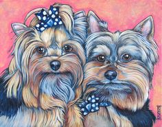 """Wyland and Lillie the Yorkshire Terrier Dog Custom Pet Portrait Painting in Acrylic Paint on 11"""" x 14"""" Canvas from Pet Portraits by Bethany. #petportrait #custmopetportrait #petart #portraitart #dogart #yorkie #yorkies"""