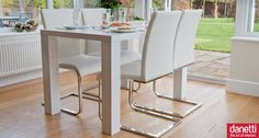 The Fern 4 Seater White Gloss Dining Table is a fabulous medium sized dining table which is so versatile and bang on trend.  The high quality wooden lacquered finish provides a long lasting and hard-wearing table - perfect for busy every day life.  Accompanying the Fern 4 Seater Table are the comfortable Verona Chairs which are slimline, stylish cantilever chairs, finished in high quality faux leather with slender chrome legs. £445.00