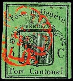 """Switzerland cantonal Genf, Michel 5 - 5 C. black on greenish olive, """"large eagle"""", on all sides having full to wide margins cut, tied by red Geneva-based rosette, certificate with photograph Renggli: """"very fine, unrepaired. """", Zumstein no. 7, SBK SFr. 4. 000.-  Lot condition   Dealer Dr. Reinhard Fischer Auktionen  Auction Starting Price: 800.00 EUR"""