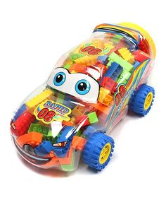Little ones make creative inventions with these building blocks that come in a charming car container to make clean-up fun.   CHOKING HAZARD: Small parts. Not for children under 3 years