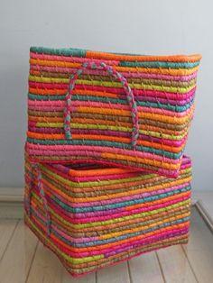 Multi Coloured Woven Basket