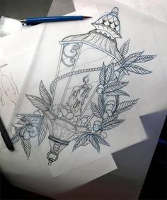 #tattoo idea candle lantern pearls vines roses lantern tattoos and tattoo ideas