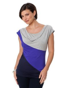 A Pea in the Pod: Short Sleeve Pull Down Colorblock Nursing Tee A Pea in the Pod. $34.99
