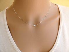 Opal Halskette weisser Opal auf einem Sterling Silber
