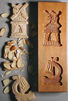 Speculaas Cookie Molds for shaping Dutch-style Windmill and St. Nicholas (Sinterklaus) Cookies by taylor Dutch Cookies, Springerle Cookies, Going Dutch, Butter Molds, Dutch Recipes, German Recipes, Candy Molds, Cookies Et Biscuits, Wood Carving