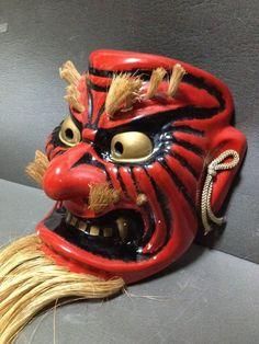 Japanese Handmaid TENGU mask demon noh kyougen kagura bugaku