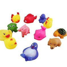 13PCS Cute Soft Rubber Float Sound Kids Wash Bath Play Animals Cartoon Toy Splas