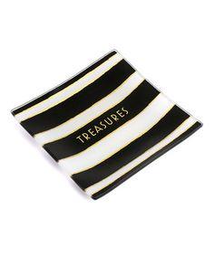This 'Fearless' Navy Blush Stripe Trinket Tray is perfect! #zulilyfinds