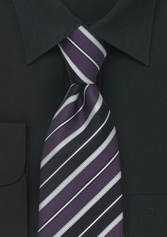 Italian Striped Silk Tie in Purple, Black, and Silver