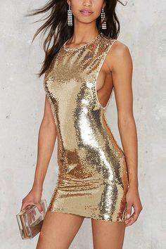 Gold Sequins Decor Sleeveless Zipper Back Sexy Bodycon Dress #Gold #Dress #maykool
