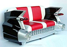 This classic car couch makes a comfortable seat