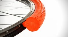 This tire is entirely tubeless, and has a 100% solid construction that makes it immune to nails, glass and other sharp objects.