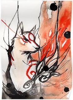 Art Prints featuring Okami by Rubis Firenos Amaterasu, Colores Faber Castell, Ouvrages D'art, Manga Illustration, Canvas Prints, Art Prints, Manga Art, Game Art, Fantasy Art