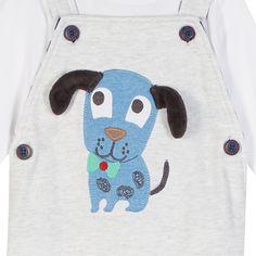 Babies grey applique dog dungaree set - Kids - Debenhams.com