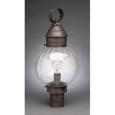 Northeast Lantern Onion Round 1 Light Lantern Head Finish: Dark Brass, Shade Type: Clear