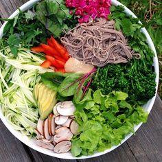 soba noodle & veggie salad bowl w/ homemade ginger-lime-peanut sauce ...