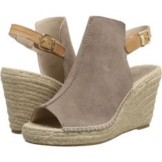 Seychelles Charismatic (Taupe Suede) Women's Wedge Shoes ($81) ❤ liked on Polyvore featuring shoes, sandals, taupe, open toe wedge sandals, suede platform sandals, slingback wedge sandals, suede shoes and platform wedge shoes