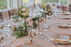Blush and ivory with seeded eucalyptus and garden roses! Re-use ceremony decor at the reception