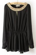 Blusa gasa plisado con aplique lentejuelas-Negro  22.4