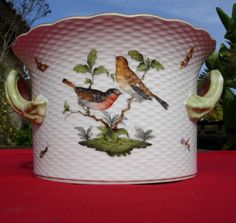 Herend Hungarian Hungary Porcelain Cache Pot Flower LARGE HUGE Bird Buttflies #Herend
