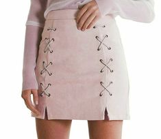 Simplee Autumn lace up leather suede pencil skirt Winter 2017 cross high waist skirt Zipper split bodycon short skirts womens - Outfits For Days Suede Pencil Skirt, Suede Skirt, Faux Leather Skirt, Suede Leather, Beige Skirt, Leather Skirts, Look Fashion, Winter Fashion, Womens Fashion