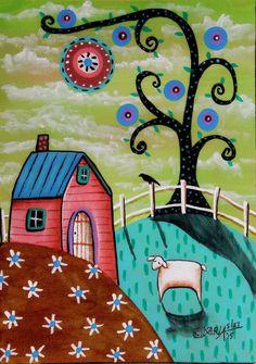 Pink House 5x7inch ORIGINAL Canvas Panel PAINTING FOLK ART landscape Karla G #FolkArtAbstractPrimitive