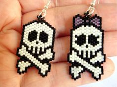 Beaded skulls black and white earrings by ile1974 on Etsy - cool!