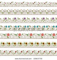 Seamless Doodle Border and Frame Elements Floral by kleyman, via ShutterStock