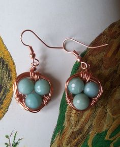 """Nested"" blue beads in copper earrings $20"