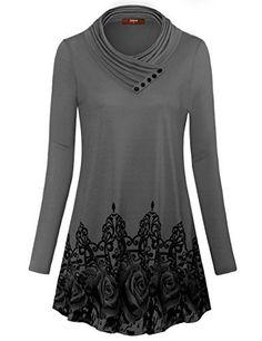 767a8877e4eb2 Gaharu Women s Long Sleeve Button Cowl Neck Floral Printed Casual Tunic  Tops  tunic  longsleeve