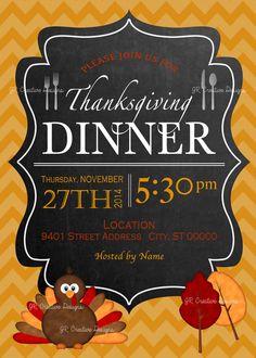 Thanksgiving invitation Thanksgiving invite turkey invitation
