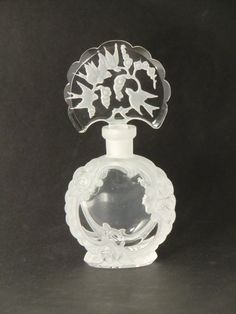 Bohemian Czech Art Deco Glass Perfume Bottle with Birds