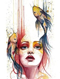 "Artist Jennifer Sonksen Duran ""Transient"" Watercolor, x by artist Jennifer Duran. See her portfolio by visiting ""Transient"" Watercolor, x by artist Jennifer Duran. See her portfolio by visiting Watercolor Fish, Watercolor Paintings, Nature Paintings, Art Nature, Girl Paintings, Painting Art, Nature Drawing, Paintings Of Faces, Nature Sketch"