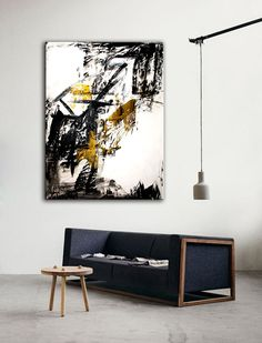 """Abstract Painting, Original Painting, Acrylic Painting, White, Black, Gold colors, size 36"""" x 48"""" x 3/4"""", Modern Art."""