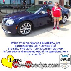 Robin is heading home in a stylish Chrysler 300. Thank you for choosing Woody's Automotive Group and congratulations! 🎉 #wow #wowwoodys #woodysautomotive #cars #trucks #suvs #carsforsale #trucksforsale #suvsforsale #kansascity #chillicothe #customerreviews #customertestimonials #wowcarbuying #carshopping #happycustomers #2017chrysler300 #chrysler300 #chrysler