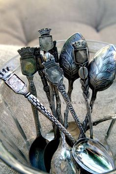 Antique French crown top spoons. These remind me of my Grandmother...I still use one of her's in my salt dish.
