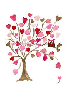 Búho en el árbol de corazones arte Print por TheJoyofColor en Etsy