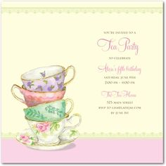 Free Afternoon Tea Party Invitation Template. See More. Invitations