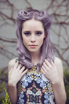 lilac pinup hair - working victory rolls